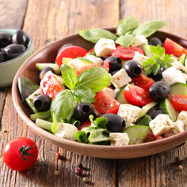 salad with feta, tomato, olive and basil